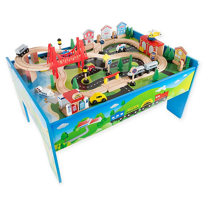 Hey Play Wooden Train Set Table Bed Bath Beyond