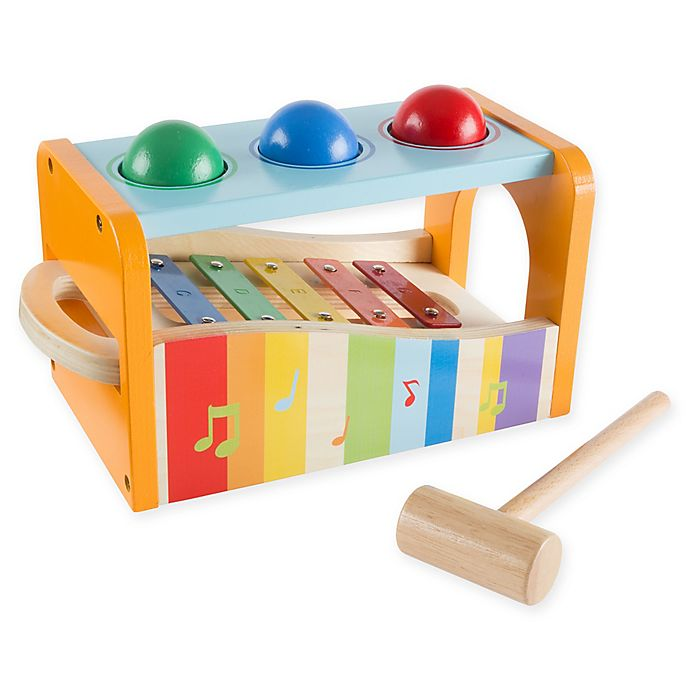 Alternate image 1 for Hey! Play! Wooden Pound and Play Bench Musical Toy