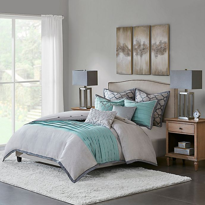 Alternate image 1 for Hampton Hill Tranquility Queen 8-Piece Comforter Set in Blue/Grey