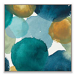 Teal Watermarks II 21.88-Inch Square Canvas Wall Art
