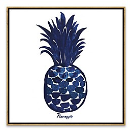 Indigo Pineapple 18.88-Inch Square Framed Wall Art