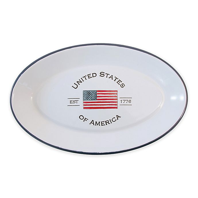 Alternate image 1 for Boston International Patriotic Multicolor Oval Platter