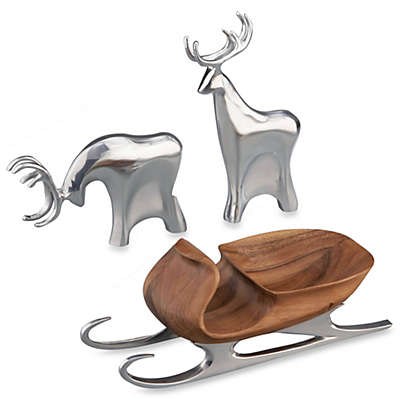 Nambe 3-Piece Sleigh with Reindeer Set