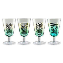 Fifth Avenue Crystal Soiree Wine Glasses in Teal/Gold (Set of 4)