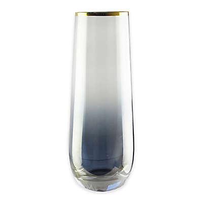 Fifth Avenue Crystal Vivienne Stemless Flutes in Blue/Gold (Set of 4)