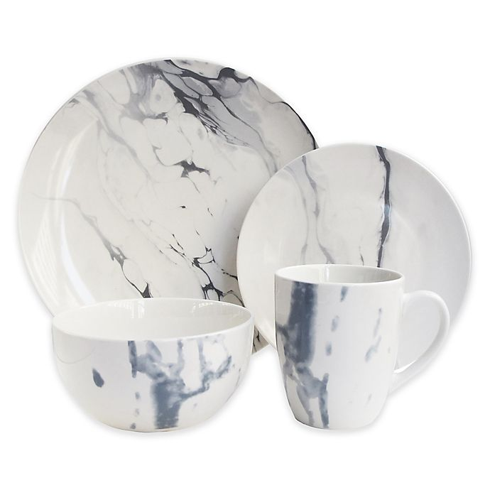 Alternate image 1 for American Atelier Marble 16-Piece Dinnerware Set in White/Blue