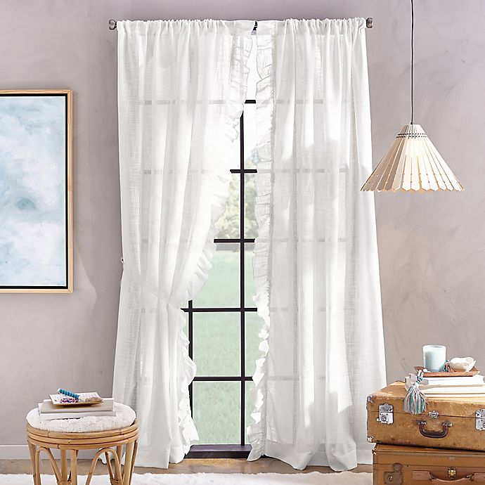 Alternate image 1 for Peri Home Sadie 84-Inch Pole Top Window Curtain Panel in White