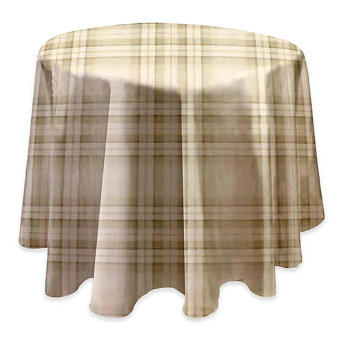Alternate image 1 for Reeve Plaid Laminated Fabric 70-Inch Round Tablecloth in Grey