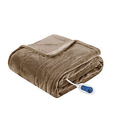 Beautyrest Heated Plush Oversized Solid Throw