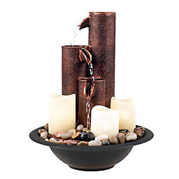Pure Garden 3-Tiered Candle Fountain in Copper with Pump