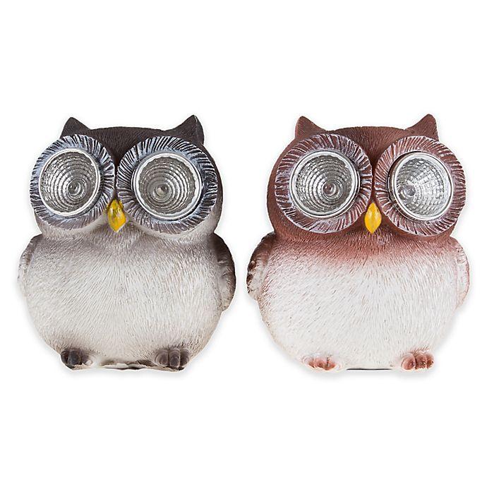 Alternate image 1 for Pure Garden Solar LED Light Owl Statues (Set of 2)