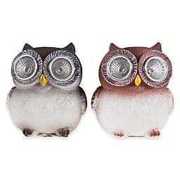Pure Garden Solar LED Light Owl Statues (Set of 2)