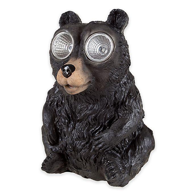 Alternate image 1 for Pure Garden Solar LED Light Black Bear Statue