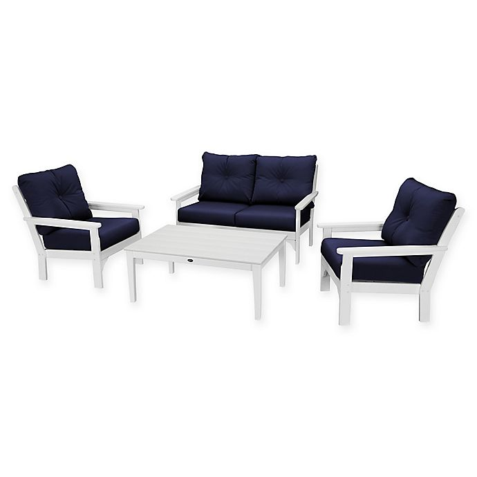 Alternate image 1 for POLYWOOD Vineyard 4-Piece Patio Deep Seating Set in White with Navy Cushions