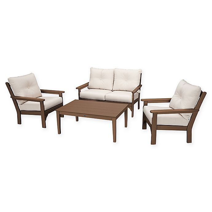 Alternate image 1 for POLYWOOD Vineyard 4-Piece Patio Deep Seating Set in Teak with Beige Cushions