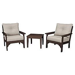 POLYWOOD® Vineyard 3-Piece Deep Seat Patio Conversation Set