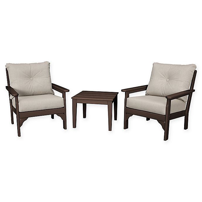 Alternate image 1 for POLYWOOD® Vineyard 3-Piece Deep Seat Patio Conversation Set in Mahogany/Ash