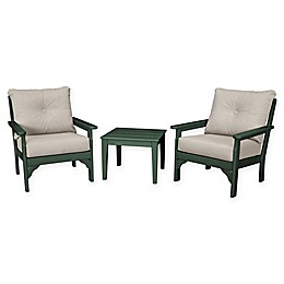 POLYWOOD® Vineyard 3-Piece Deep Seat Patio Conversation Set
