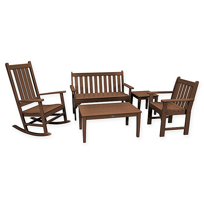 Remarkable Polywood Vineyard 5 Piece Patio Bench And Rocking Chair Set In Teak Caraccident5 Cool Chair Designs And Ideas Caraccident5Info