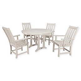POLYWOOD® Vineyard 5-Piece Nautical Trestle Patio Dining Set