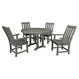 POLYWOOD® Vineyard 5-Piece Nautical Trestle Patio Dining Set