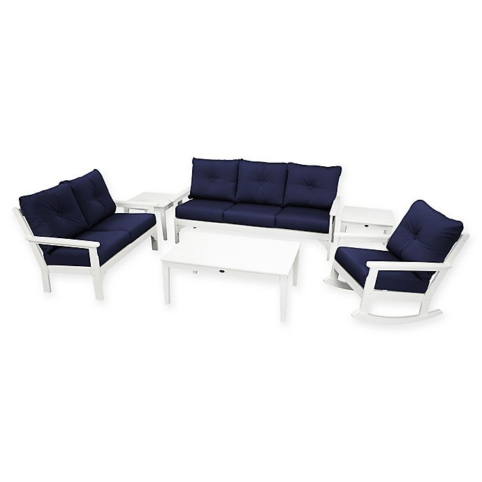Alternate image 1 for POLYWOOD Vineyard 6-Piece Patio Deep Seating Set in White with Navy Cushions