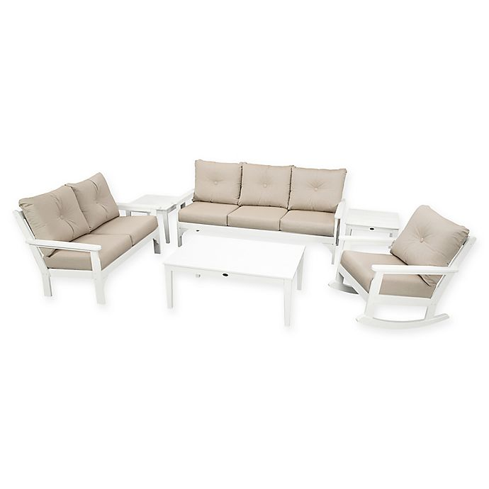 Alternate image 1 for POLYWOOD Vineyard 6-Piece Patio Deep Seating Set in White with Ash Cushions