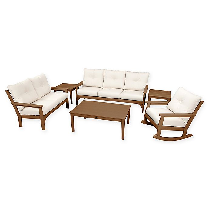 Alternate image 1 for POLYWOOD Vineyard 6-Piece Patio Deep Seating Set in Teak with Beige Cushions