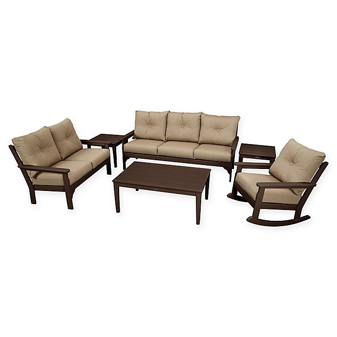 Alternate image 1 for POLYWOOD Vineyard 6-Piece Patio Deep Seating Set in Mahogany with Sesame Cushions