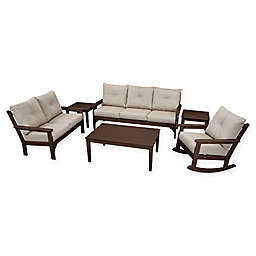 POLYWOOD Vineyard 6-Piece Patio Deep Seating Set in Mahogany with Ash Cushions