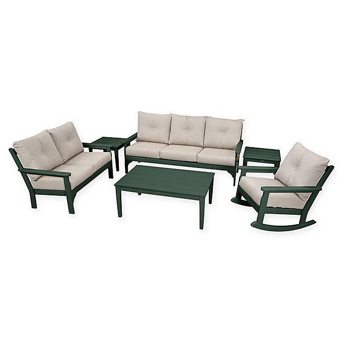 Alternate image 1 for POLYWOOD Vineyard 6-Piece Patio Deep Seating Set in Green with Ash Cushions