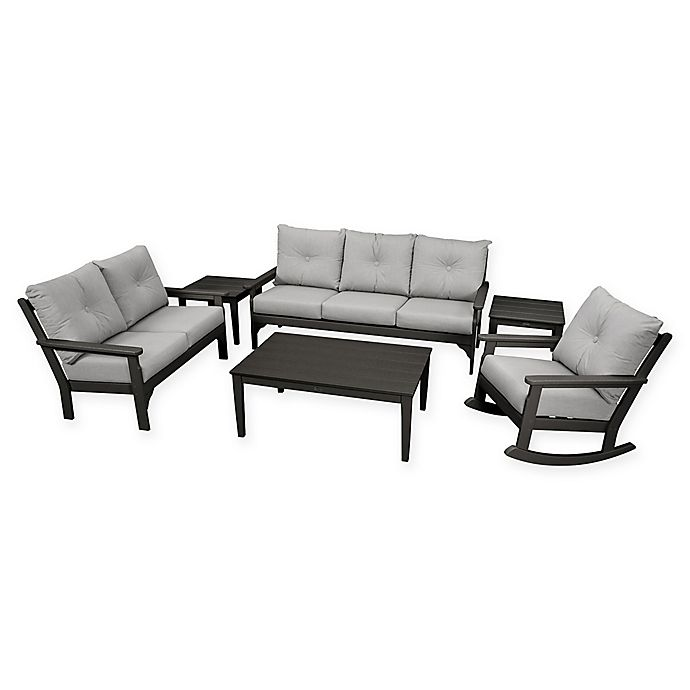 Alternate image 1 for POLYWOOD Vineyard 6-Piece Patio Deep Seating Set in Black with Granite Cushions