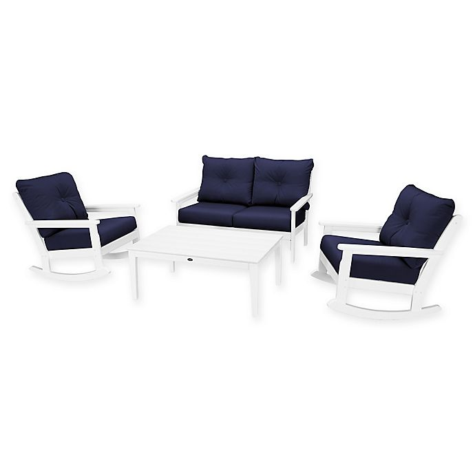 Alternate image 1 for POLYWOOD® Vineyard 4-Piece Patio Deep Seat Rocking Chair Set in White/Navy
