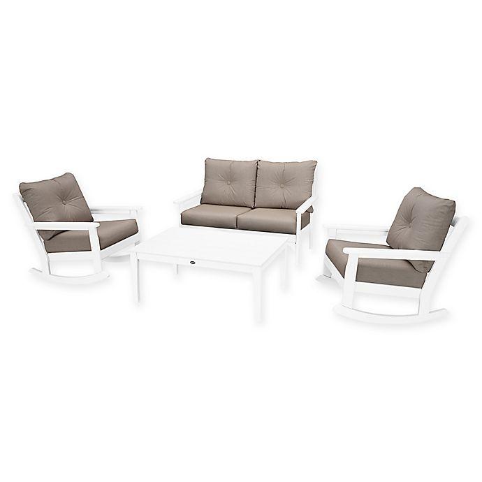 Alternate image 1 for POLYWOOD® Vineyard 4-Piece Patio Deep Seat Rocking Chair Set in White/Ash