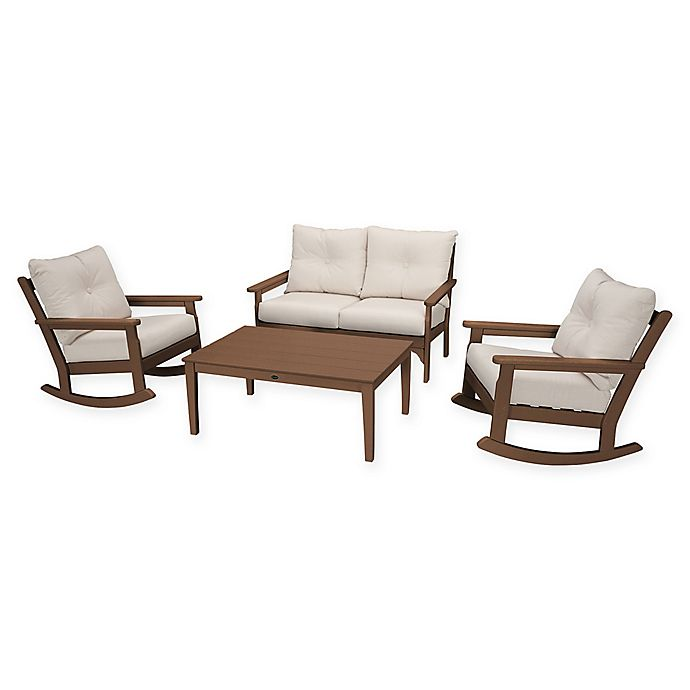 Alternate image 1 for POLYWOOD® Vineyard 4-Piece Patio Deep Seat Rocking Chair Set in Teak/Beige