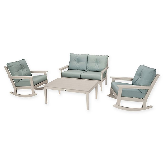 Alternate image 1 for POLYWOOD® Vineyard 4-Piece Patio Deep Seat Rocking Chair Set in Sand/Spa
