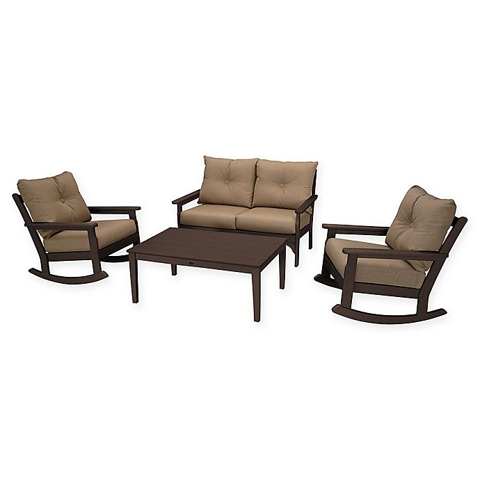 Alternate image 1 for POLYWOOD® Vineyard 4-Piece Patio Deep Seat Rocking Chair Set in Mahogany/Sesame