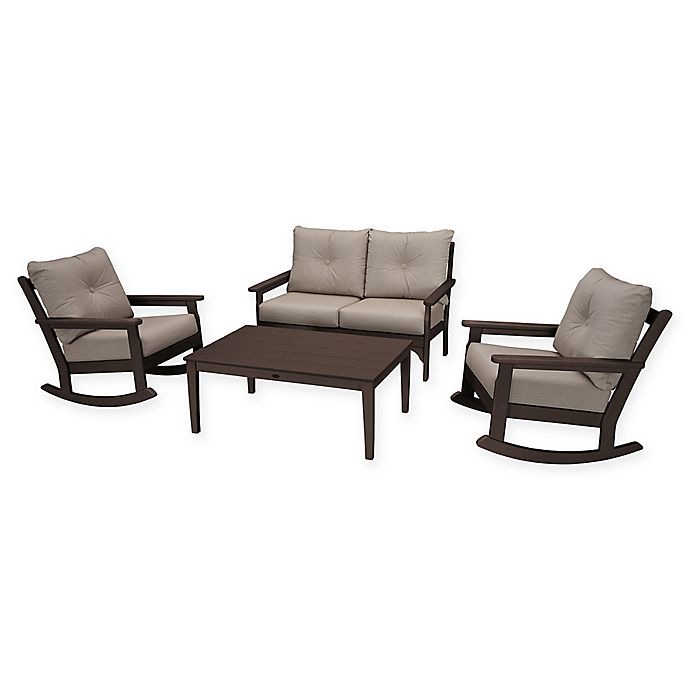 Alternate image 1 for POLYWOOD® Vineyard 4-Piece Patio Deep Seat Rocking Chair Set in Mahogany/Ash