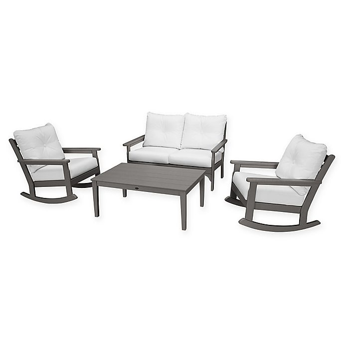 Alternate image 1 for POLYWOOD® Vineyard 4-Piece Patio Deep Seat Rocking Chair Set in Grey/Natural