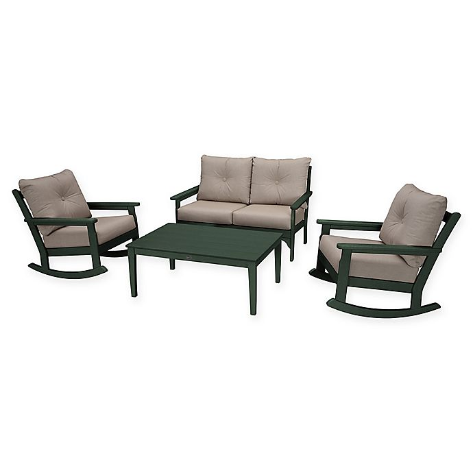Alternate image 1 for POLYWOOD® Vineyard 4-Piece Patio Deep Seat Rocking Chair Set in Green/Ash