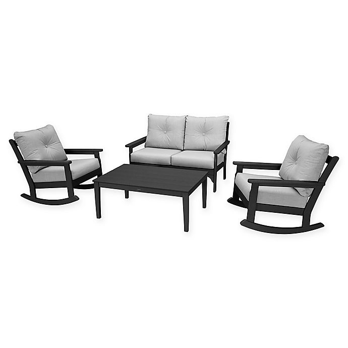 Alternate image 1 for POLYWOOD® Vineyard 4-Piece Patio Deep Seat Rocking Chair Set in Black/Granite