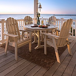 POLYWOOD Vineyard Curveback Adirondack 5-Piece Nautical Trestle Dining Set