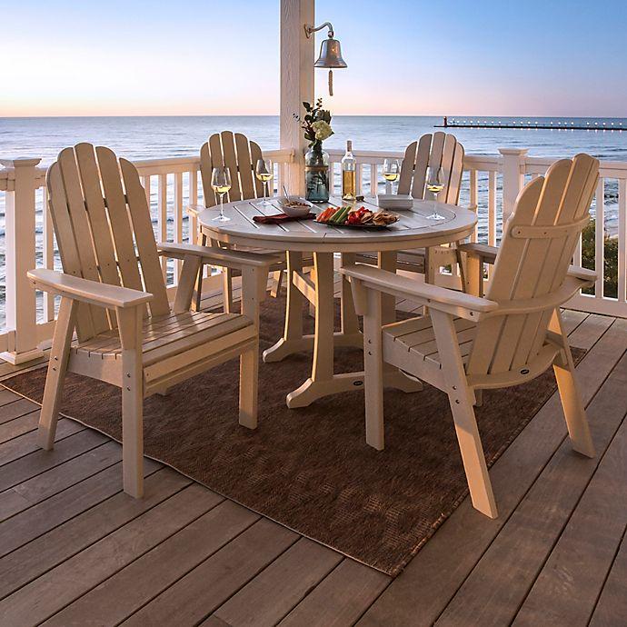 Alternate image 1 for POLYWOOD Vineyard Curveback Adirondack 5-Piece Nautical Trestle Dining Set