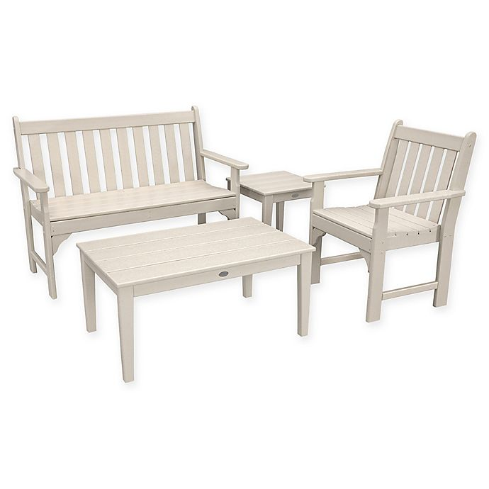 Alternate image 1 for POLYWOOD® Vineyard 4-Piece Patio Bench Seating Set in Sand