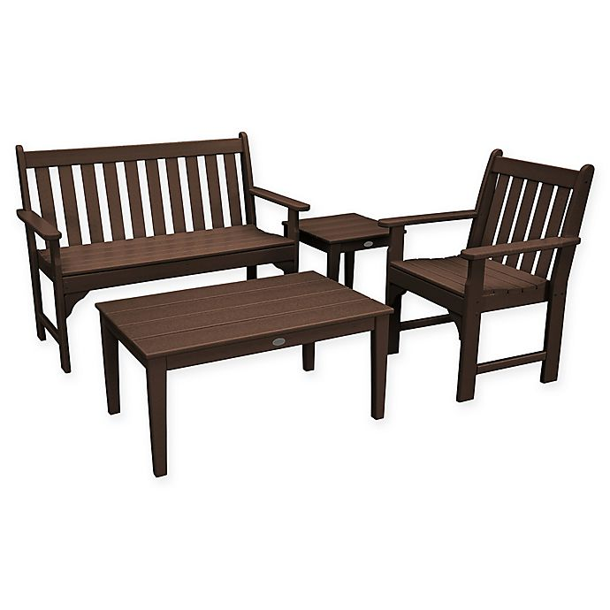 Alternate image 1 for POLYWOOD® Vineyard 4-Piece Patio Bench Seating Set in Mahogany