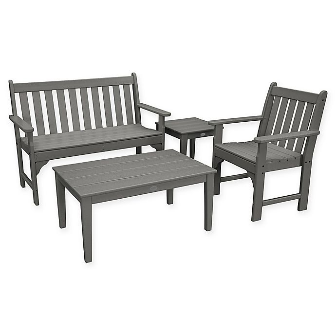 Alternate image 1 for POLYWOOD® Vineyard 4-Piece Patio Bench Seating Set in Slate Grey