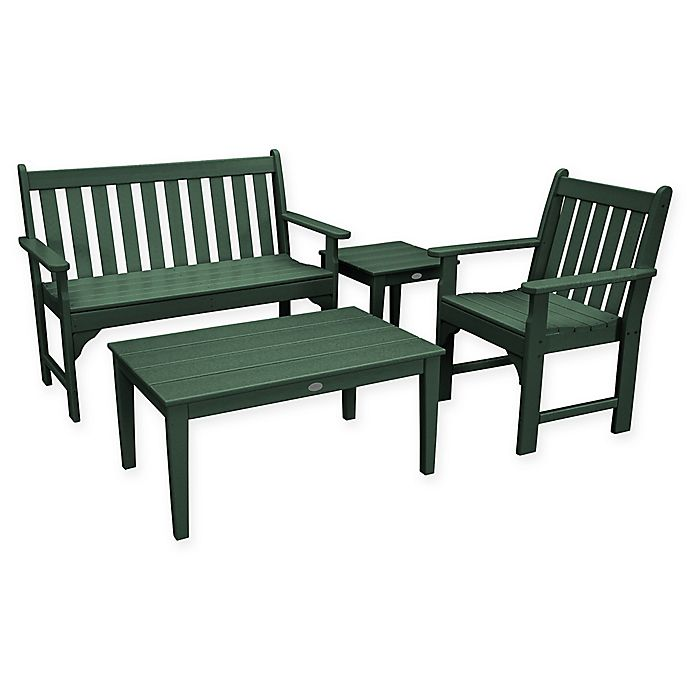 Alternate image 1 for POLYWOOD® Vineyard 4-Piece Patio Bench Seating Set in Green
