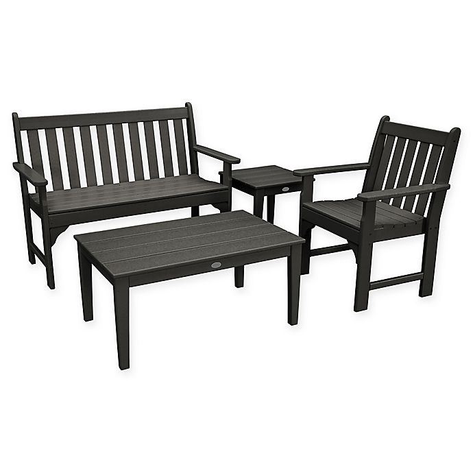 Alternate image 1 for POLYWOOD® Vineyard 4-Piece Patio Bench Seating Set in Black