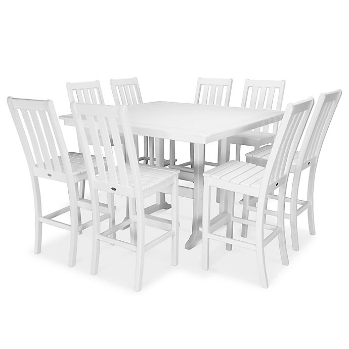 Alternate image 1 for POLYWOOD® Vineyard 9-Piece Nautical Trestle Bar Set in White