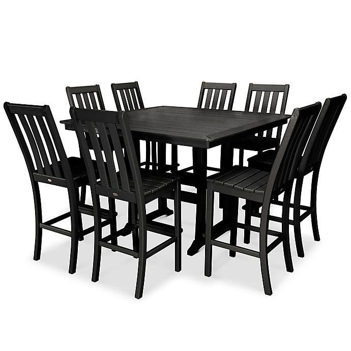 Alternate image 1 for POLYWOOD® Vineyard 9-Piece Nautical Trestle Bar Set in Black